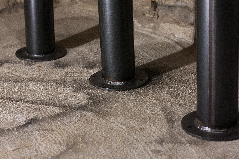 Bolt Down Urban Industrial Pedestal Bar Stools From