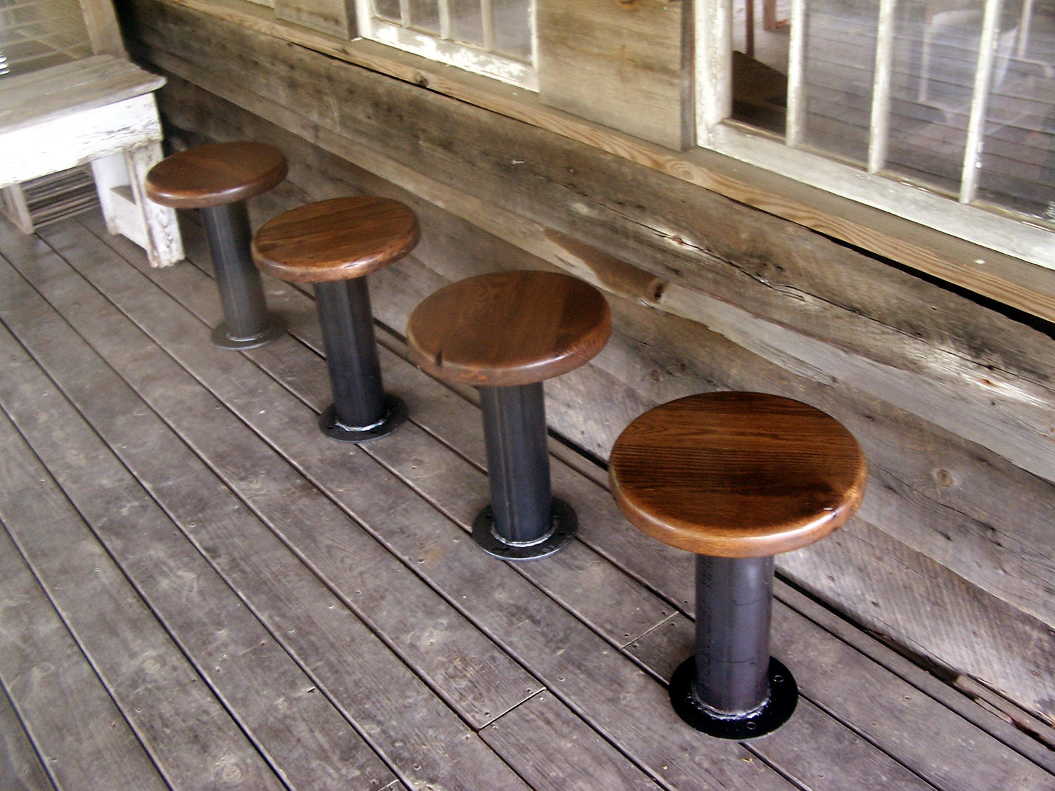 Bolt Down Urban Industrial Pedestal Bar Stools From