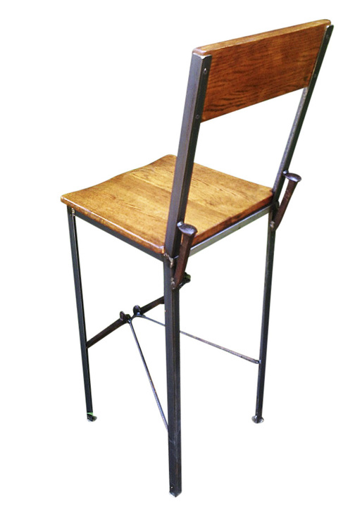 Delicieux Urban Style Reclaimed Wood Bar Stools With Industrial Metal Legs And Railroad  Spikes