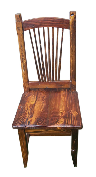 Reclaimed Knotty Pine Rustic Spindle Back Chair