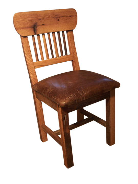 Reclaimed Oak Mission Style Dining Chair With Upholstered