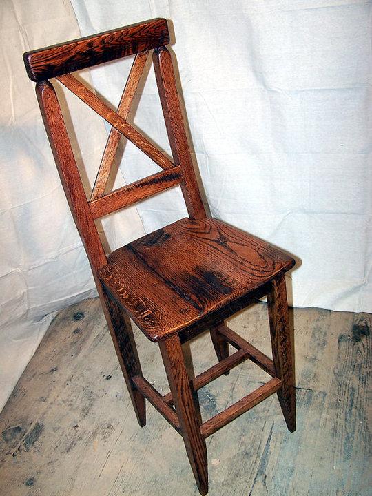 Reclaimed Antique Oak Bar Height 24 High Seat Dining