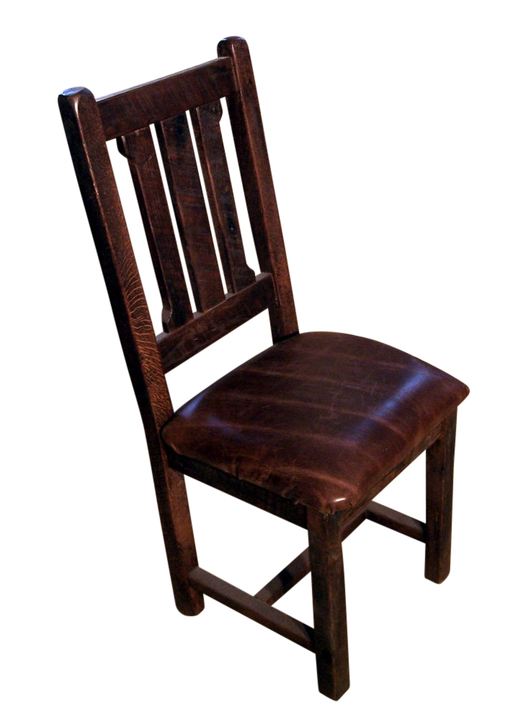 Reclaimed Oak Rustic Mission Dining Chair With Upholstered