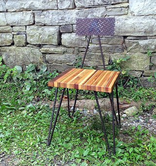 Hipster Industrial Dining Chair With Hairpin Rebar Legs And Reclaimed Wood