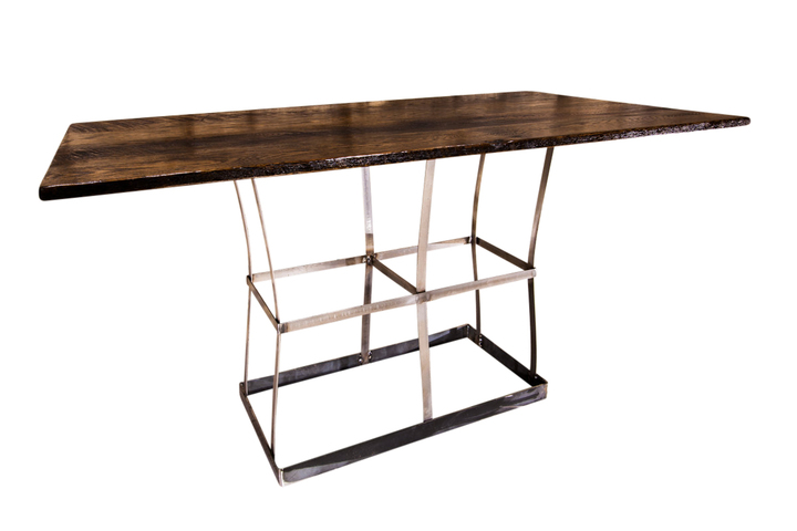 reclaimed wood dining table with contemporary metal base rustic restaurant furniture. Black Bedroom Furniture Sets. Home Design Ideas