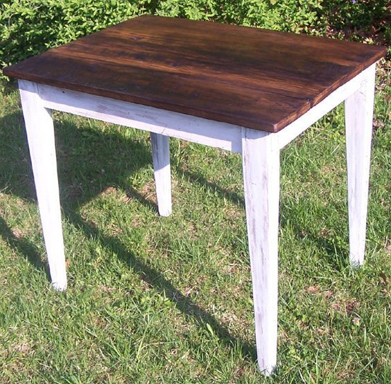 Reclaimed Wormy Chestnut Dining Table With Painted Skirt
