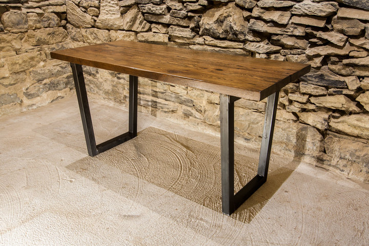 The Rappahannock U2013 Urban Modern Reclaimed Wood Table With Industrial Base