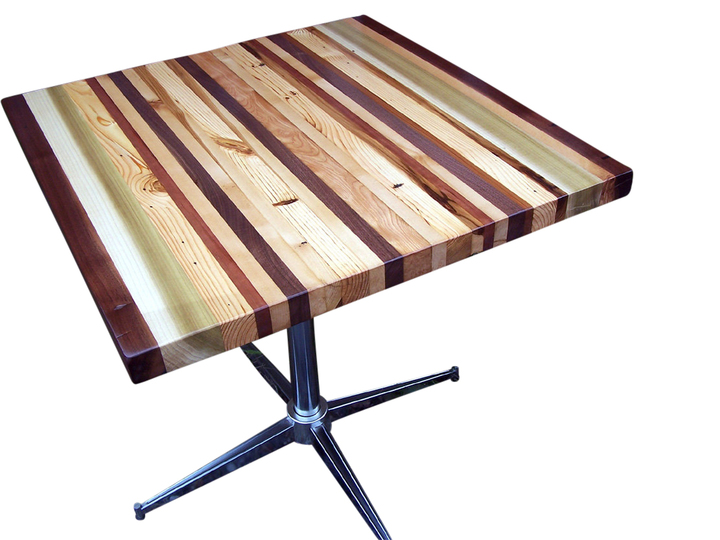 Butcher block dining table with stainless steel chrome