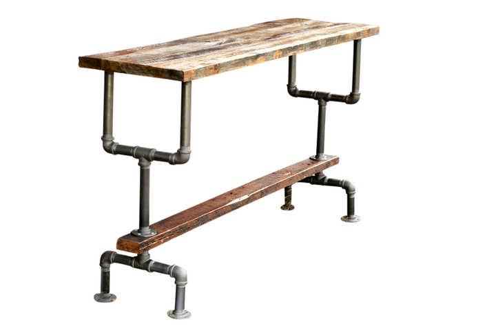 Weathered Gray Wood And Industrial Pipe Bar Height Table