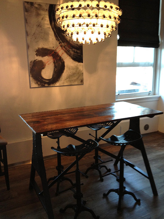 Train Bridge Industrial Metal Base Table With Reclaimed