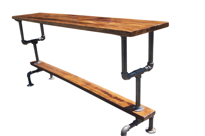 Industrial Style Bar Height Table With Metal Pipe Base And Reclaimed Wood  Plank Top