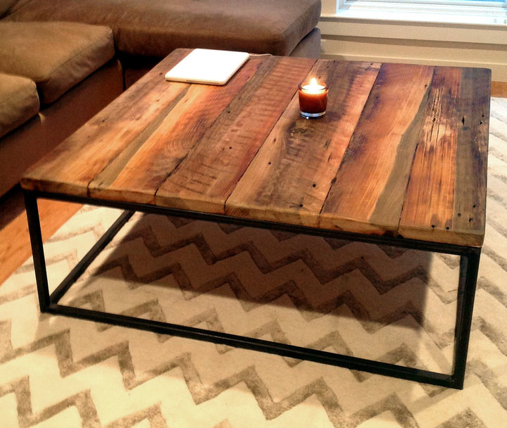 Large Square Coffee Table With Metal Base