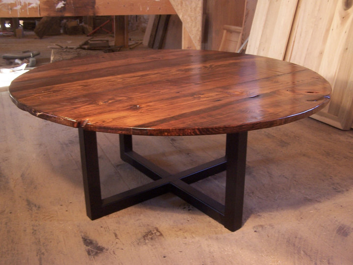 Large Round Coffee Table With Metal Base Rustic