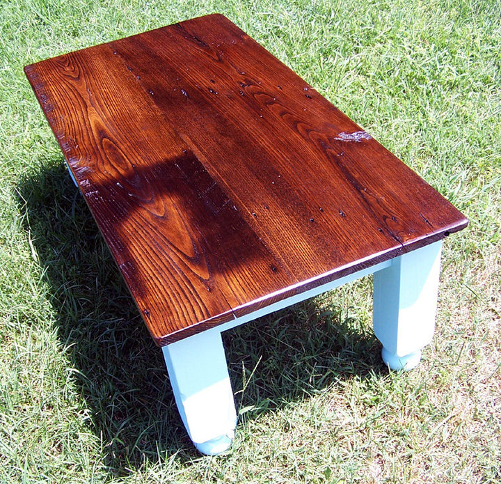 Reclaimed Wormy Chestnut Farm Style Coffee Table Rustic