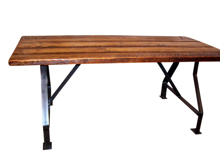 Factory Work Table With Industrial Metal Base And Reclaimed Wood - Reclaimed wood work table