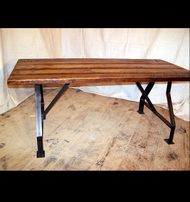 Factory Work Table With Industrial Metal Base And Reclaimed Wood Plank Top  (6ft.)