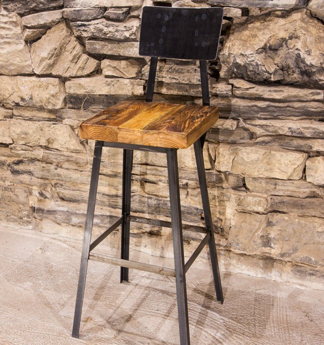 Brew Haus Industrial Style Bar Stools With Scooped Backs