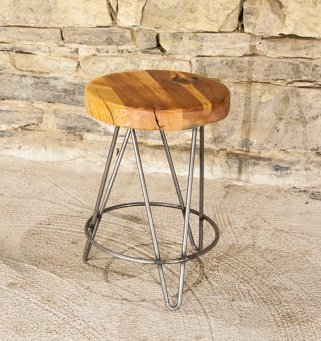 Reclaimed Wood And Metal Hairpin Leg Tripod Stools