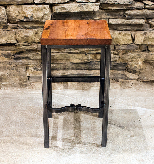 Right Proper Industrial Style Bar Stools from Reclaimed Wood and
