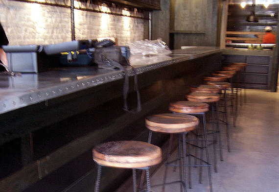 Factory Style Bar Stools With Rebar Legs Rustic