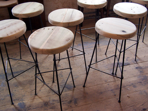 Factory Style Reclaimed Wood Bar Stools With Smoothbar