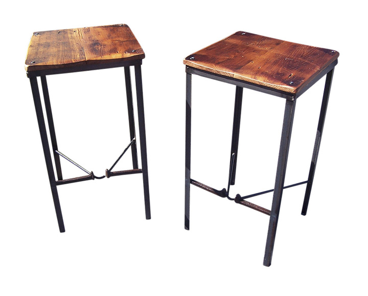The Brandywine U2013 Urban Style Reclaimed Wood Bar Stools With Industrial  Metal Legs And Railroad Spike Foot Catchers